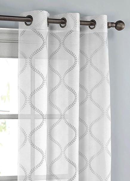 Window Elements Lisse Cotton Blend Burnout Sheer 76 X 96 In Grommet Curtain Panel Pair