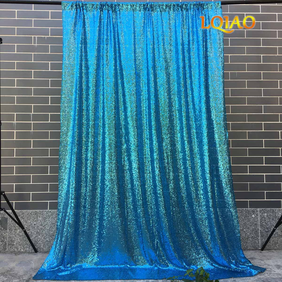 LQIAO Wedding Christmas Backdrop Glitter Turquoise 4FTx10FT Sequin Backdrop Window Curtain Photo Booth Photography Party Decoration