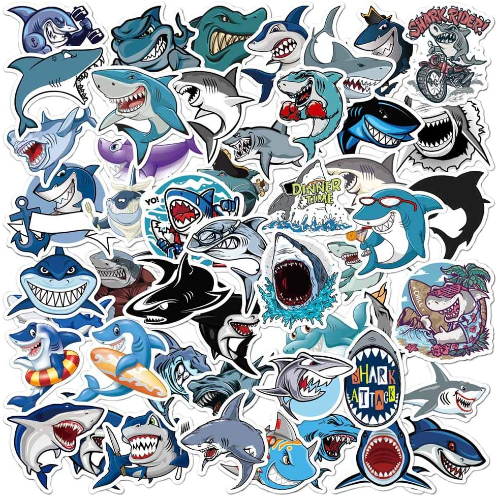 50 Pcs Shark Theme Vinyl Stickers for Laptop Hydro Flask Water Bottle Phone Case Helmet Skateboard, Aesthetic Decals for Kids Teens and Adults