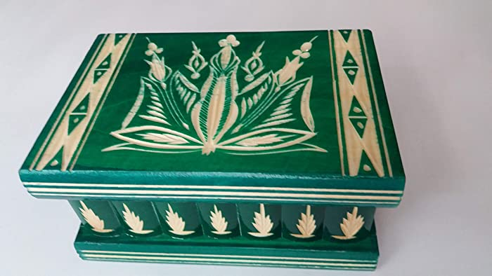 Caja puzzle joyero mágica tesoro verde misterio de almacenamiento secreto compartimiento de caja de madera decoración
