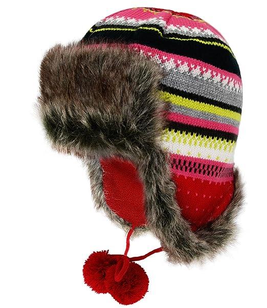 Fiebig Gorra De Aviador Chica Gorro Gorros Piloto Sombrero Piel Punto  Invierno A Rayas Con Forro Polar Niños (FI-71298-W16-MA2) incl. a1cb5ccf7cd