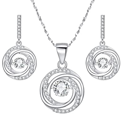 7cf2379c809 BriLove 925 Sterling Silver Necklace Earrings Set for Women Dancing CZ Round  Spiral Swirl Pendant Necklace