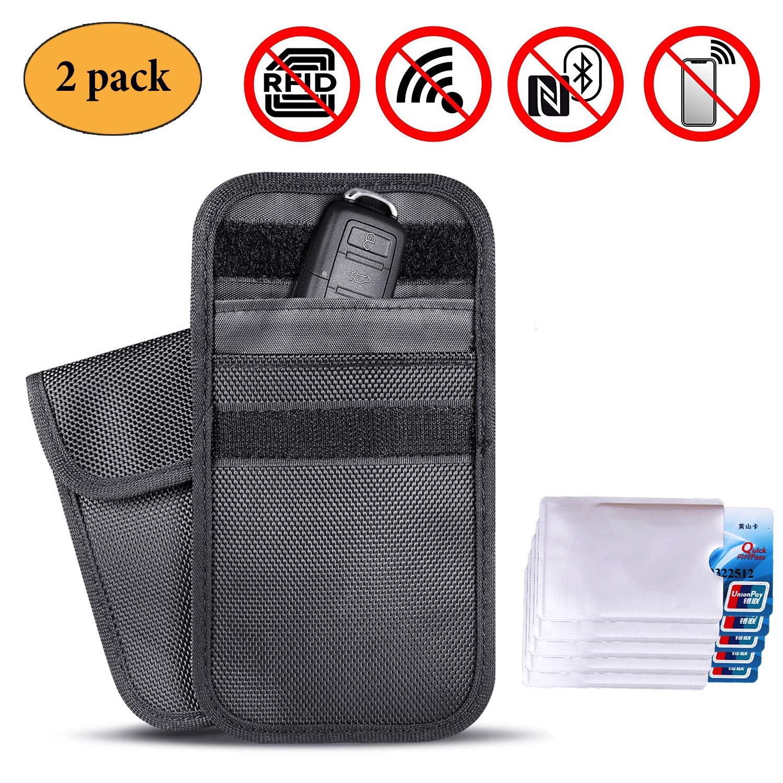 Newseego Faraday Bag, Car Key Signal Blocker Case,   2x FREE RFID Credit Card Sleeves   Anti Theft Faraday Bag for Car Key Fob & Cell Phone Blocking Pocket, WIFI/GSM / LTE/NFC / RF Blocke - (Black)