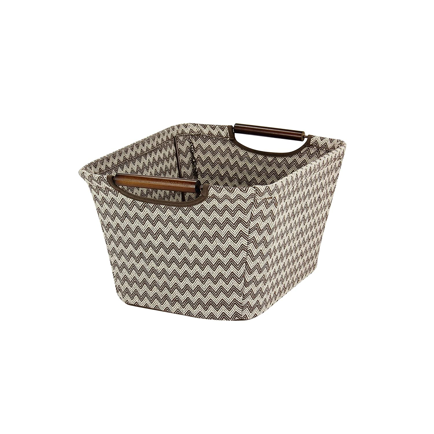 Household Essentials 660-1 Small Tapered Fabric Storage Bin with Wood Handles | Brown Chevron