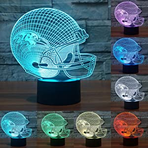 Football Cap Team Logo 3D Lamp Table NightLight 7 Color Change Football LED Desk Light Touch Multicolored USB Power As Home Decoration Lights Tractor for Boys Kids (Touch) (Baltimore Ravens)