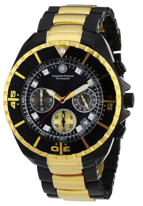 Constantin Durmont Herren-Armbanduhr XL Seawolf Chronograph Quarz Leder CD-SEAW-QZ-IPGD-IPGD-BK