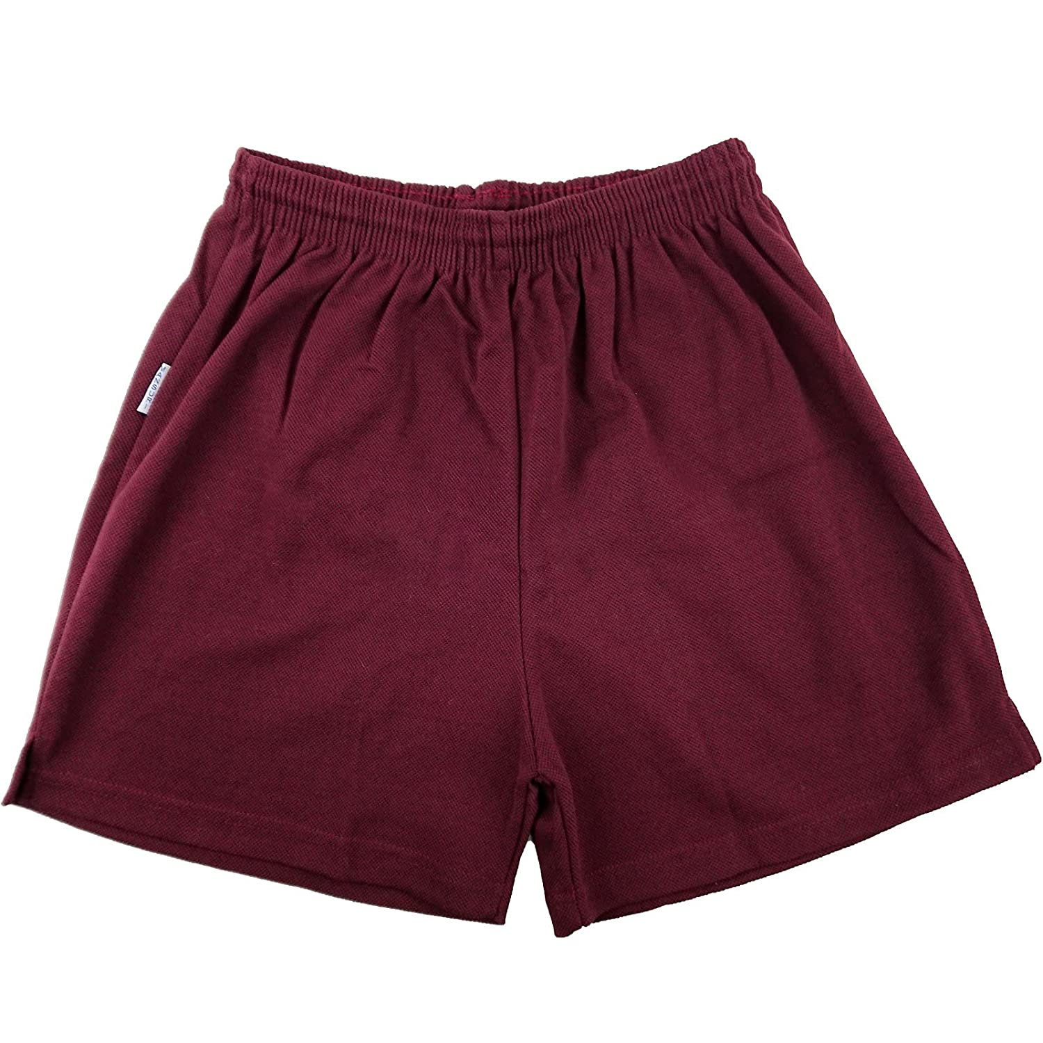 Mens Boys Girls Unisex Mesh Shorts Gym Shorts Sports Football Games PE Shorts School PE Shorts Maroon