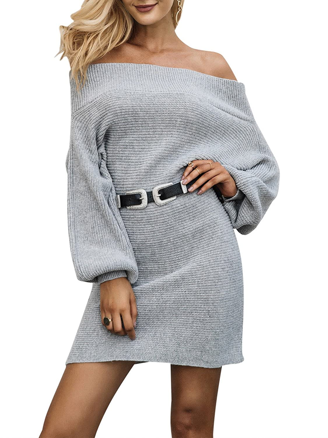 8b948e33399 Glamaker Women s Long Sleeves Loose Pullover Knit Dress Off Shoulder  Knitted Sweater Dress Gray at Amazon Women s Clothing store