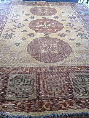 Oriental area Rug Khotan style 8' x 10' light coloring wool Zero pile Oushak carpet hand knotted