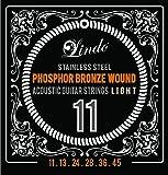 Lindo Phosphor Bronze Acoustic Steel Guitar Strings Set (6 strings) LIGHT GAUGE (.011-.045)