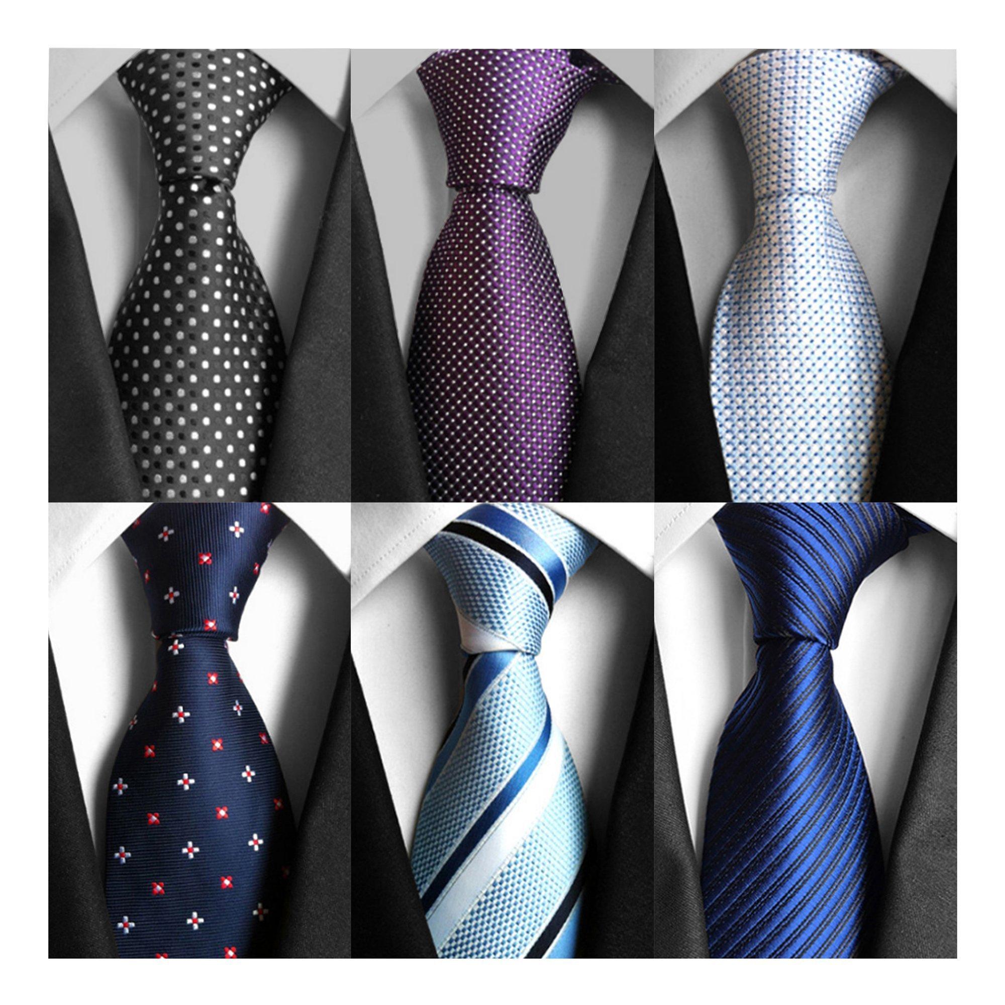 AVANTMEN 6 PCS Classic Men's Neckties Woven Jacquard Neck Ties Set (S10)