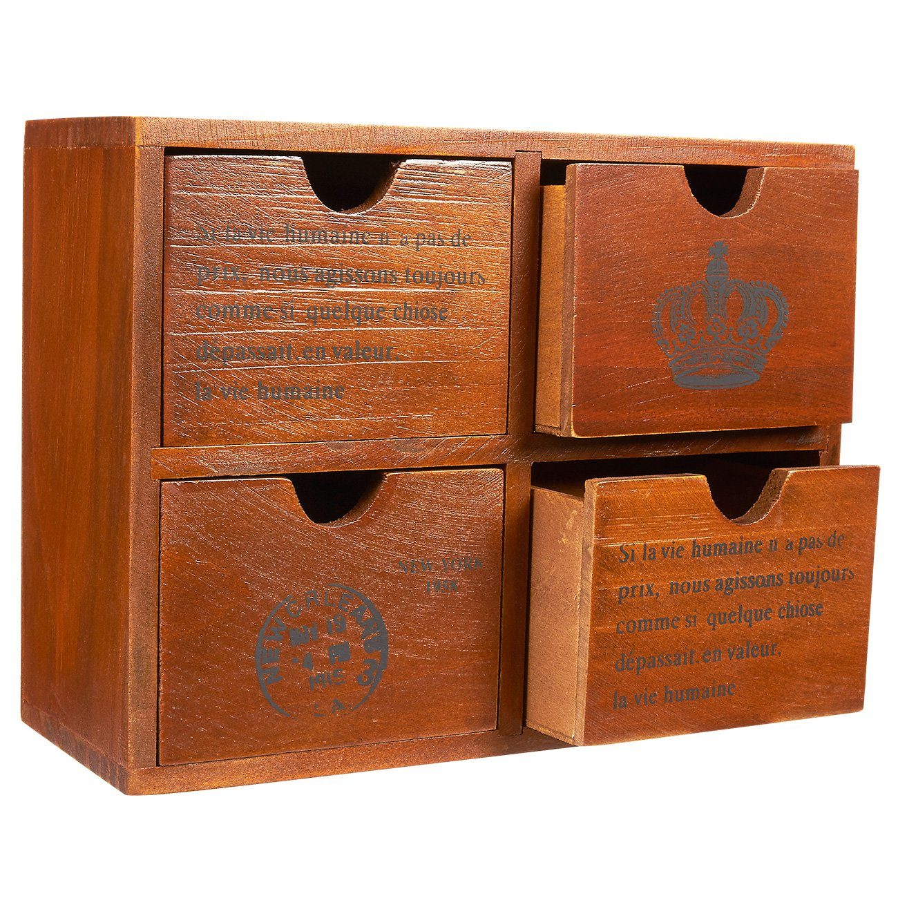 Set of 4 Drawer Wooden Storage Organizer - Small Desktop Decorative Cabinet Boxes for Craft, Vintage Jewelry Organizer - Chic French and Crown Design - Brown, 10.25 x 3.8 x 7.75 inches by Juvale