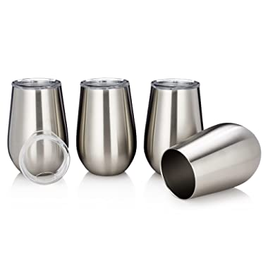 Vacuum Insulated Wine Glasses with Lids - Stainless Steel Stemless Wine Cups - Set of 4 Wine Tumblers with Clear Lids - 12 Oz - Shatterproof - BPA Free Healthy Choice - Best Value - By Avito
