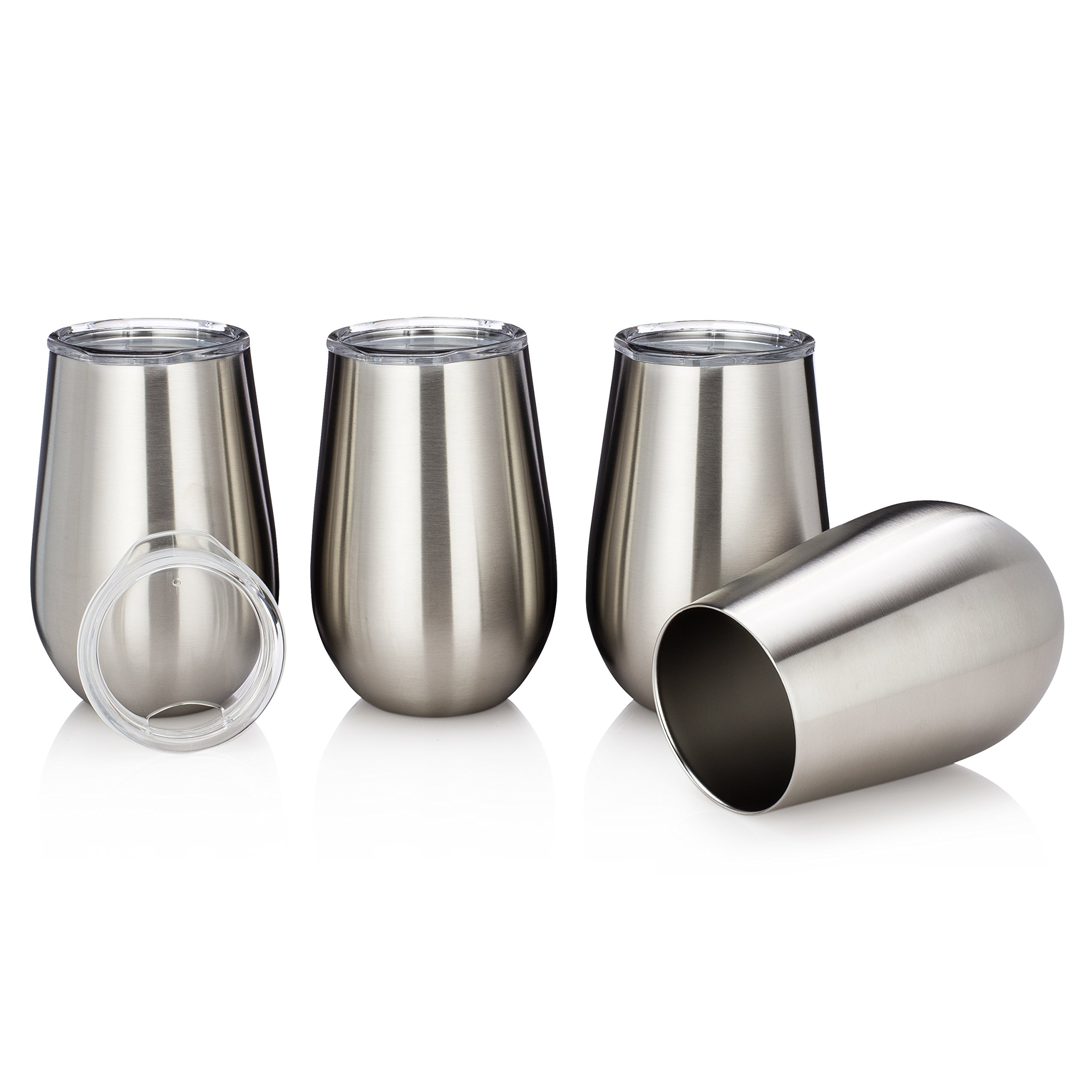 Vacuum Insulated Wine Glasses with Lids - Stainless Steel Stemless Wine Cups - Set of 2 Wine Tumblers with Clear Lids - 12 Oz - Shatterproof - BPA Free Healthy Choice - Best Value - By Avito