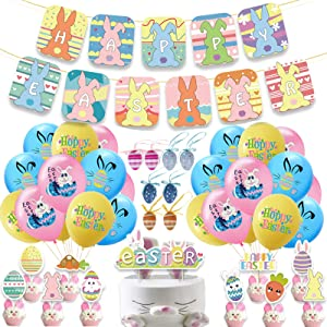 Abodhu Easter Decoration Set, Bunny Decor Banner Balloon Kit, Easter Accessories for Home Party Favors Supplies, Banner/Cake Topper/Balloons/Egg Ornaments