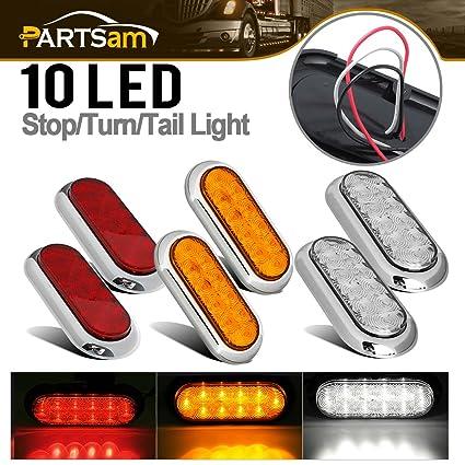 amazon com 6x red amber white 6 10led oval stop turn tail brake rh amazon com Backup Light Switch Wiring Chevy Van Backup Light Wire
