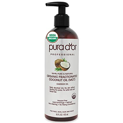 Amazon Com Pura D Or Organic Fractionated Coconut Oil 16oz 473ml Usda Certified 100 Pure Natural Mct Oil Sustainably Sourced Hexane Free Moisturizing Carrier Oil For Face Skin Hair Packaging May