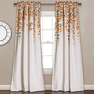 "Lush Decor Weeping Flowers Curtains Turquoise and Tangerine Room Darkening Window Panel Set (Pair), 95"" x 52"""