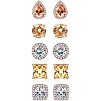 sailimue 5 Pairs Stainless Steel Cubic Zirconia Stud Earrings Set for Women Men Brilliant Round Square Teardrop Faux…