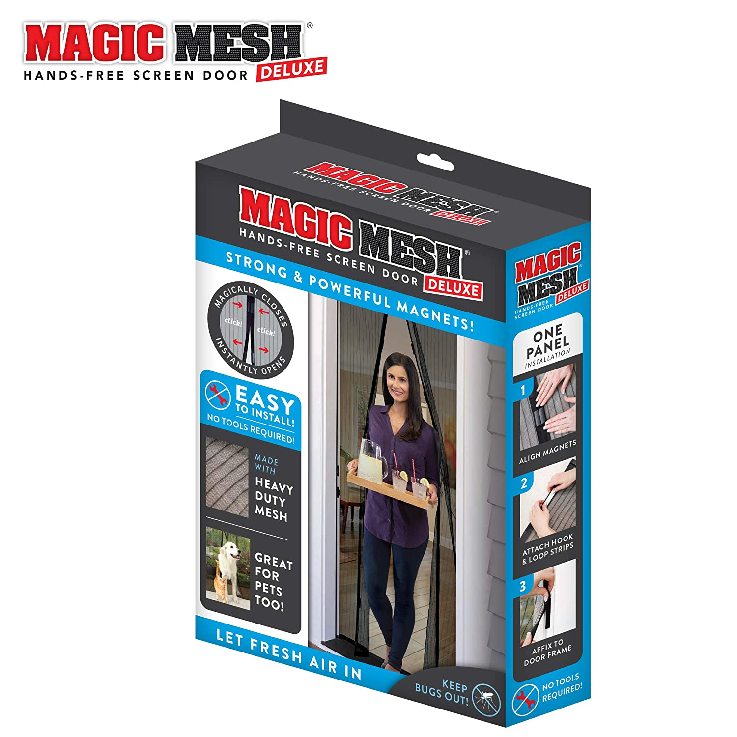 "Magic Mesh New and Improved Hands Free Magnetic Screen Fits Doors Up to Up to, 83"" x 39"", Black"