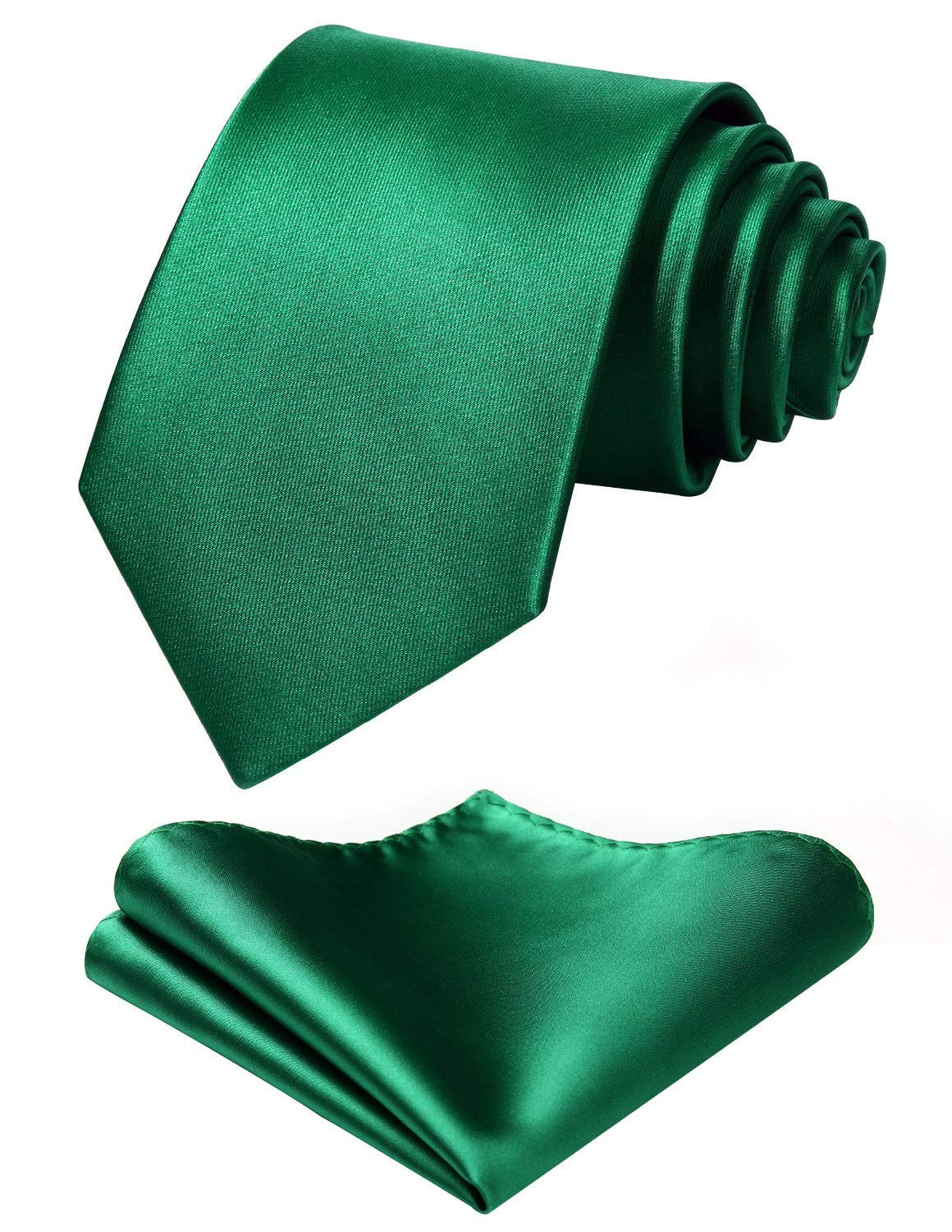 Mens Solid Green Tie Classic 3.4'' width Necktie and Pocket Square Set with Gift Box by HISDERN by HISDERN