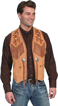 Men/'s New Western Beautiful Black Boar Suede Leather Vest Scully