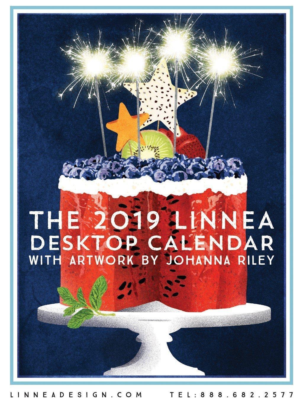 Linnea Design 2019 Desktop Calendar 5 X 7 Inches Art by Johanna Riley