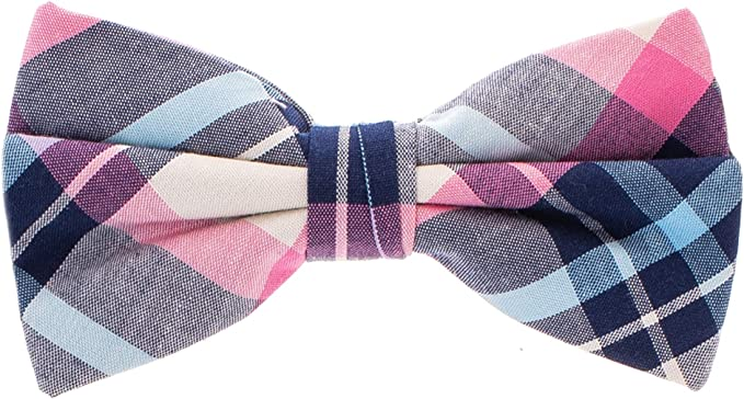 MENS BOW TIE STRIPED PURPLE PRE-TIED BOW WITH CLIP