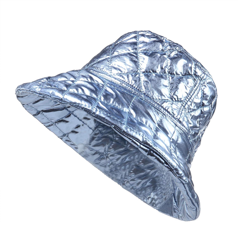 Pilipala Womens Winter Bucket Hat Shiny Metallic Reversible Warm Fishing Boonie Fashion Wide Brim Cap Unisex