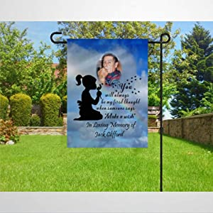 BYRON HOYLE Personalized Sympathy Garden Flag Decorative Holiday Seasonal Outdoor Weather Resistant Double Sided Print Farmhouse Flag Yard Patio Lawn Garden Decoration 12 x 18 Inch