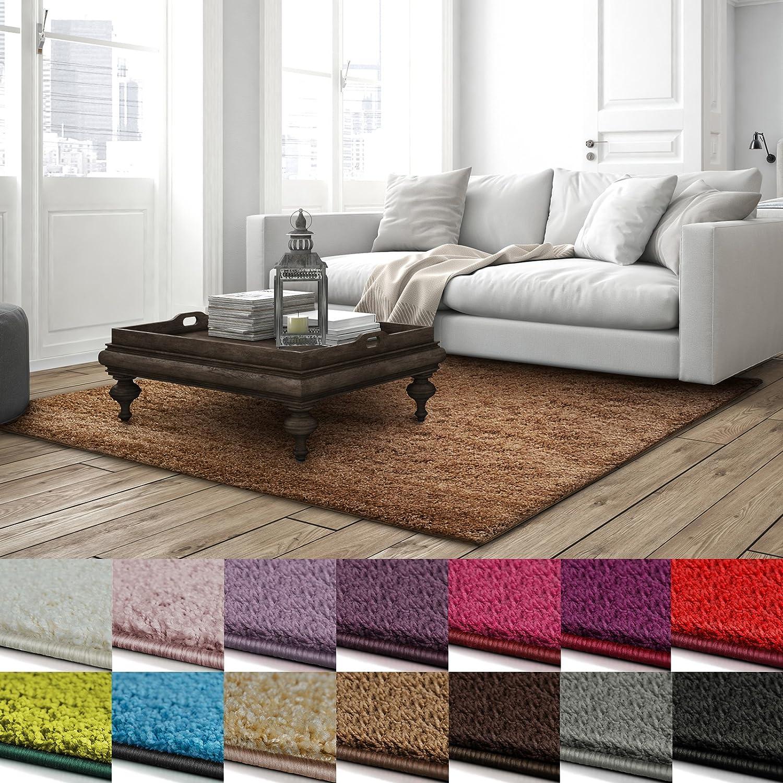 Casa pura Shaggy Teppich Barcelona   weicher Hochflor Teppich für Wohnzimmer, Schlafzimmer, Kinderzimmer   GUT-Siegel + Blauer Engel Größen   240x340 cm   Hellbraun