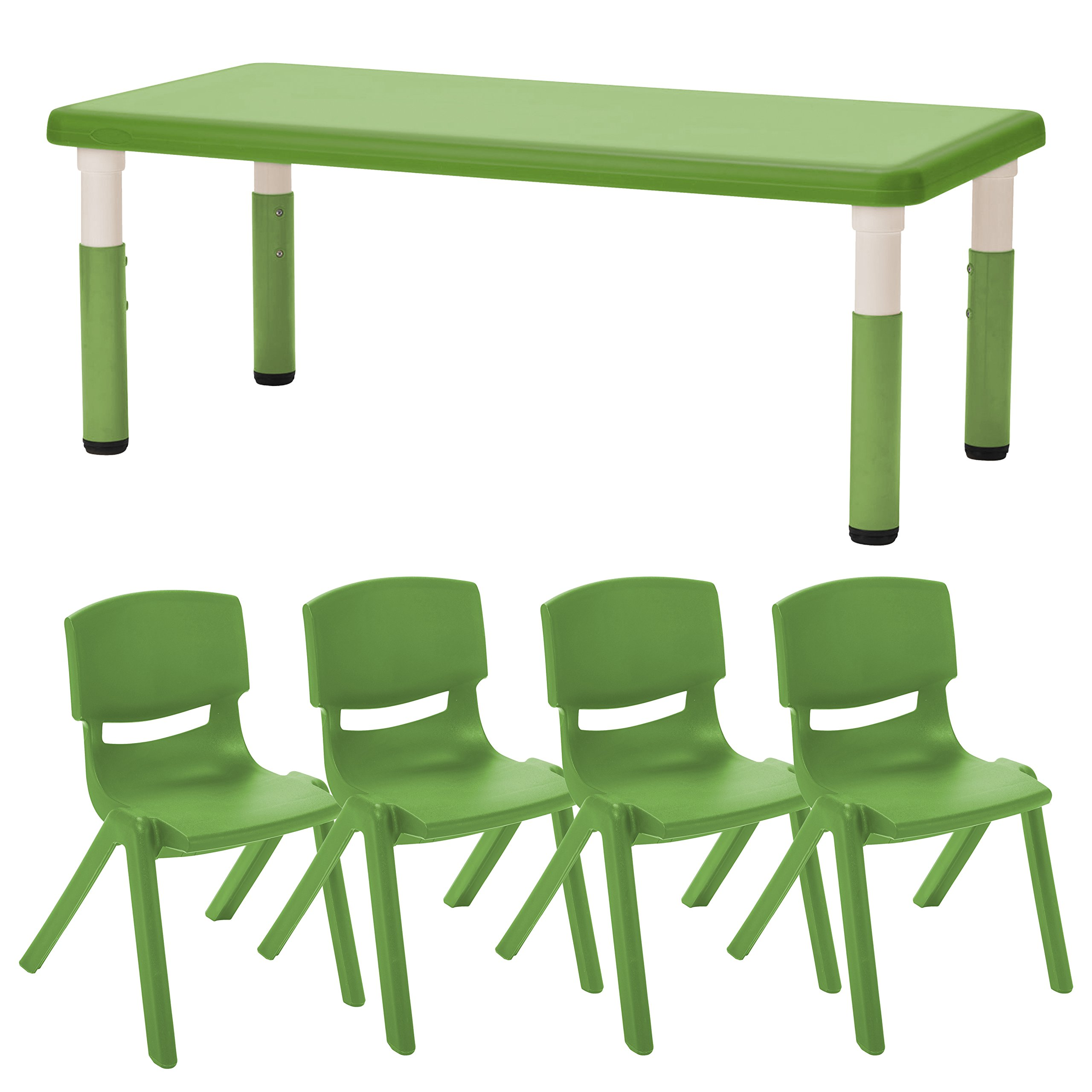ECR4Kids24'' x 48'' Rectangle Resin Activity Table with Four 16'' Resin Chairs - Indoor/Outdoor Kids Seating Set for Classrooms, Daycares, Playgrounds, Grassy Green