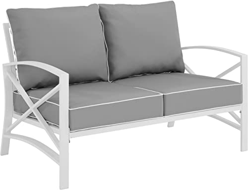 Crosley Furniture KO60008WH-GY Kaplan Outdoor Metal Loveseat, White with Gray Cushions