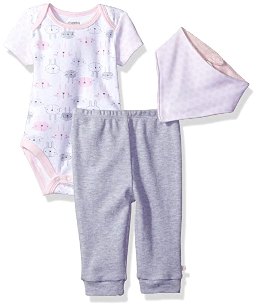 3a40a3ac05c8 Amazon.com  absorba Baby Girls 2 Pieces Bodysuit Pant Set with Bib ...
