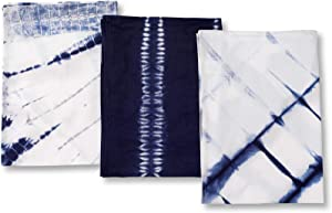 Folkulture Cotton Kitchen Towels or Dish Towels, 18 X 26 Inches Tea Towels or Dish Cloths with Corner Hanging Loop, Set of 3 Blue Shibori Dish Rags for Kitchen Décor