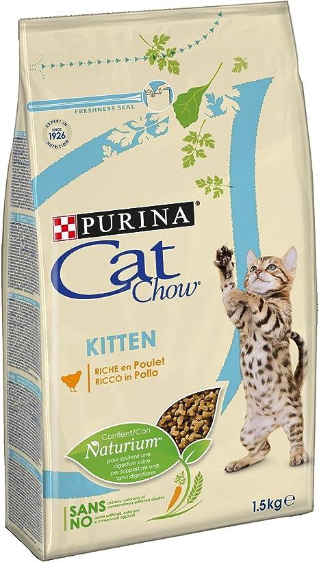 Purina Cat Chow pienso para Gato Junior, bebe, gatito con Pollo 6 x 1,5 Kg: Amazon.es: Productos para mascotas