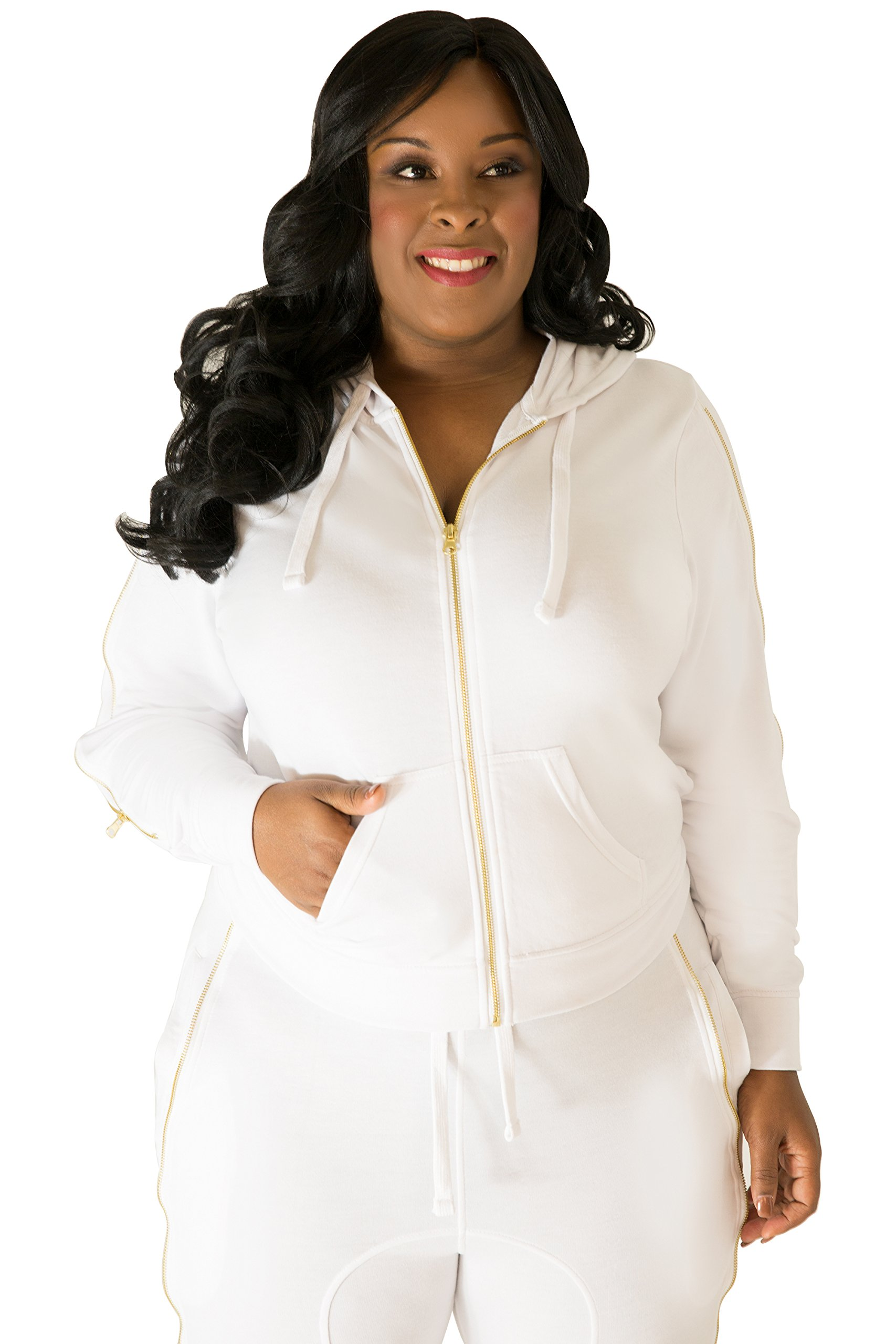 Poetic Justice Plus Size Women's Curvy Fit White French Terry Gold Zip Wrap Tie Hoodie Size 3X