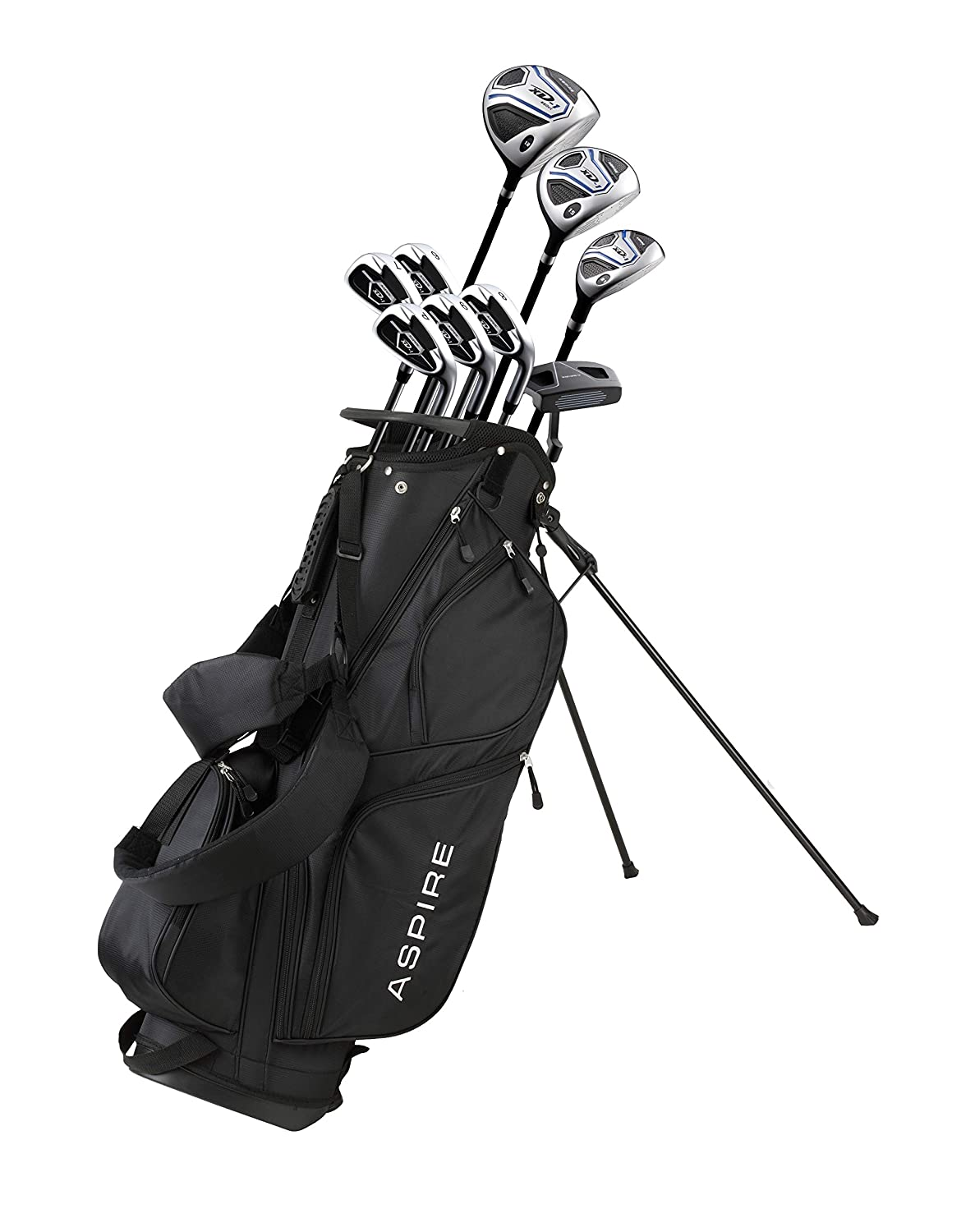 Aspire XD1 Men s Complete Golf Clubs Package Set Includes Titanium Driver, S.S. Fairway, S.S. Hybrid, S.S. 6-PW Irons, Putter, Bag, 3 H C s Right Hand – Blue – Choose Size