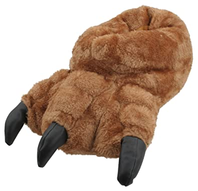 615394f10ade Slumberzzz Mens Novelty Plush Monster Claw Slippers Brown  Amazon.co ...