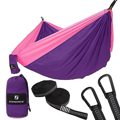 SONGMICS Hängematte, Ultraleicht, tragbar und atmungsaktiv, für 2 Personen, aus Fallschirm Nylon, bis 300 kg belastbar, 275 x