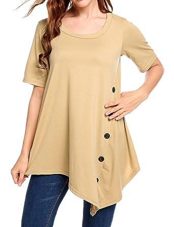 667d72f4b4 Finejo Women's Short and Long Sleeve Round Neck Button Side T Shirts Tunic  Dress Khaki S