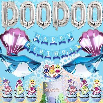 Shark Decoraciones para Fiestas con DOO DOO Globos Shark Feliz cumpleaños Banner y Pastel de cumpleaños, Suministros para la Ducha del bebé