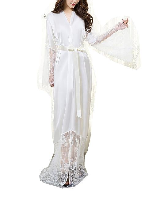 ShineGown - Bata - para mujer Blanco blanco: Amazon.es: Ropa y accesorios