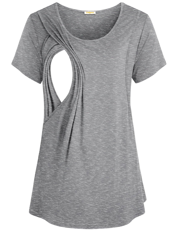 Baikea Women's Summer Breathable Nursing Tops Short Sleeve Breastfeeding Shirt Round Neck Feeding Tunic for Postpartum Nursing Women Light Grey XL
