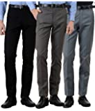 American-Elm Men's Cotton Formal Trousers- Pack of 3