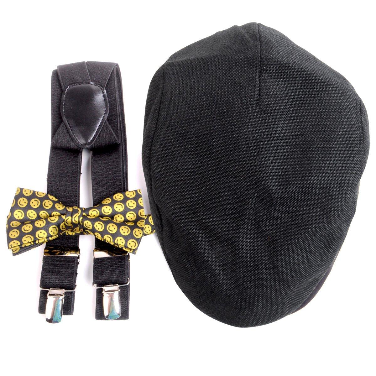 Men's Suspenders, Ivy Hat & Bow Tie Combo Emoji Pattern