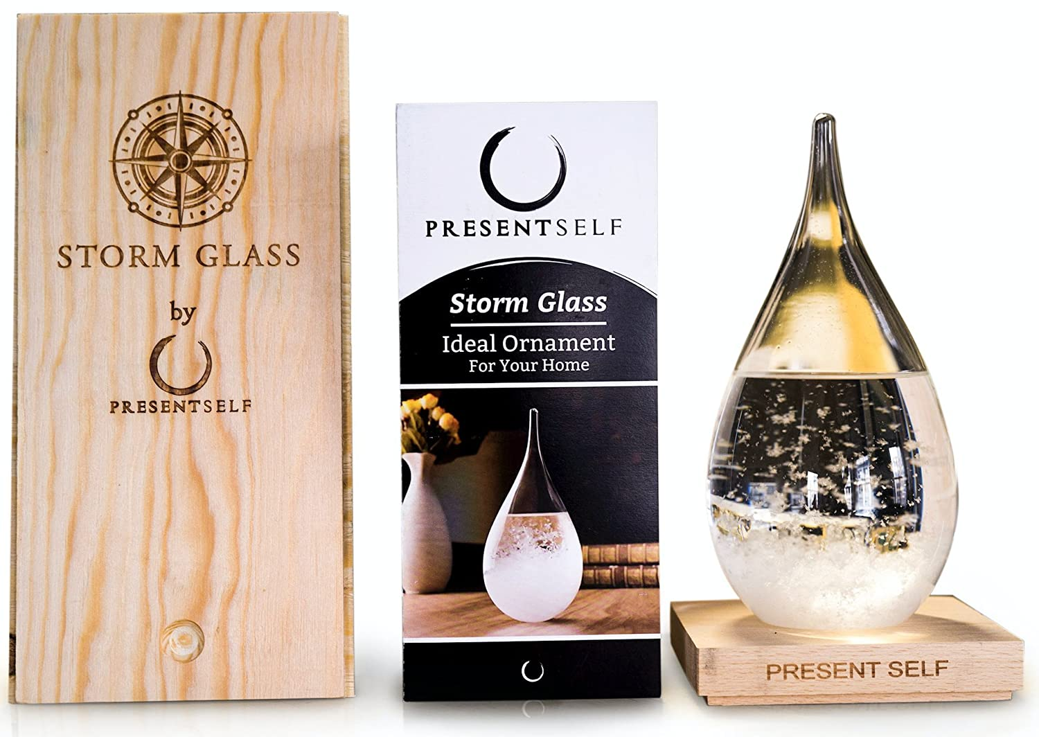 Large Storm Glass Liquid Pseudo Barometer and Decorative Bottle in Gorgeous Wooden Gift Box | Unique Conversation Starter and Elegant Home Decor Centerpiece by Present Self