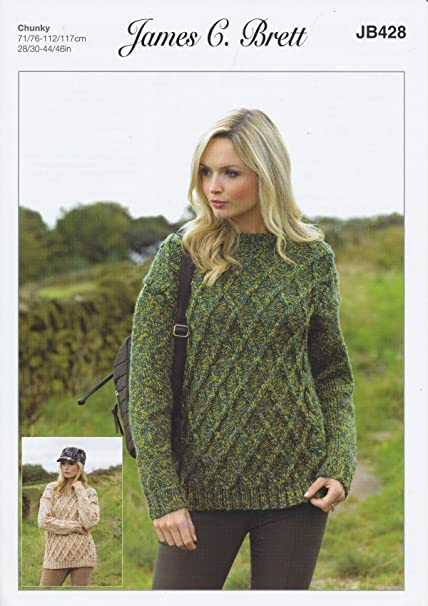 Amazon James Brett Ladies Knitting Pattern Womens Cabled