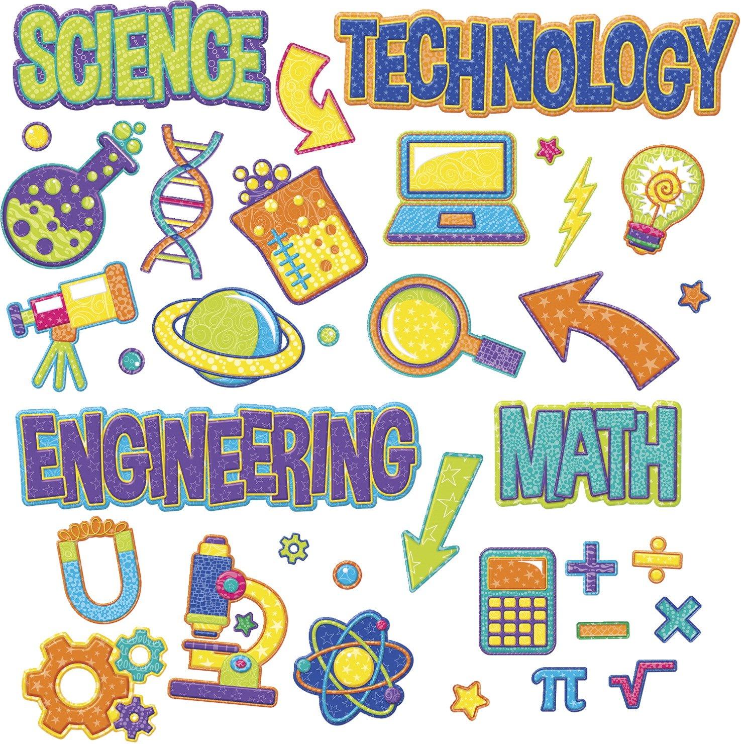 Eureka Color My World Teacher Supplies STEM Bulletin Board Set, 36 pcs Paper Magic Group 847775