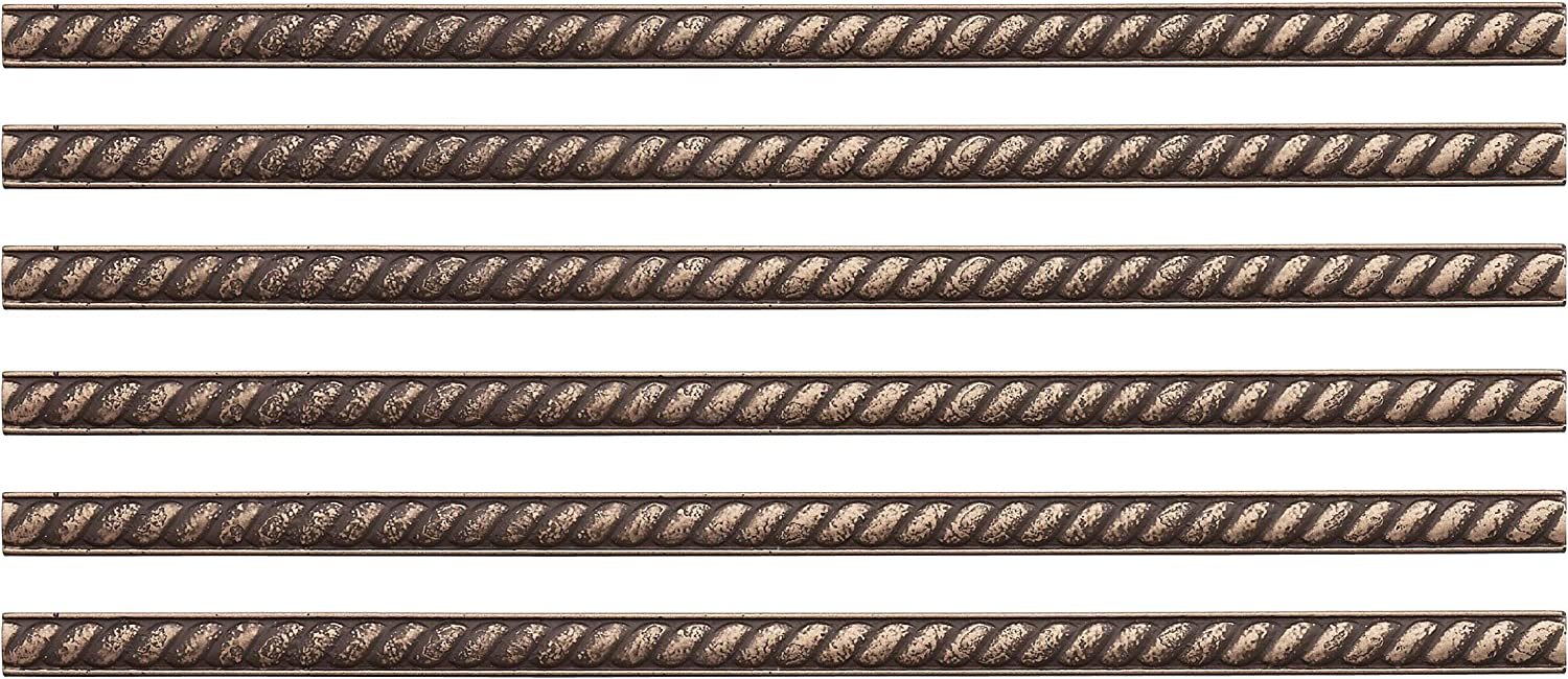 Questech Molding Tile for Kitchen Bathroom Shower Ceramic Tile Transition Pieces 6 Pack, Antique Bronze Rope Decorative Liner 1//2 X 12 inch Pencil Tile Liner Trim Metal Finish